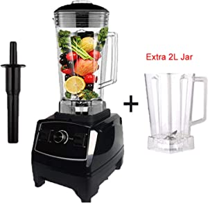 2200W Heavy Duty Commercial Blender Professional Blender Mixer Food Processor Japan Blade Juicer Ice Smoothie Machine,Black extra jar,UK Plug