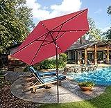 Cheap SUNNYARD Outdoor Solar Powered LED Lighted Patio Umbrella Aluminum Table Market Umbrella with Crank and Tilt (red)