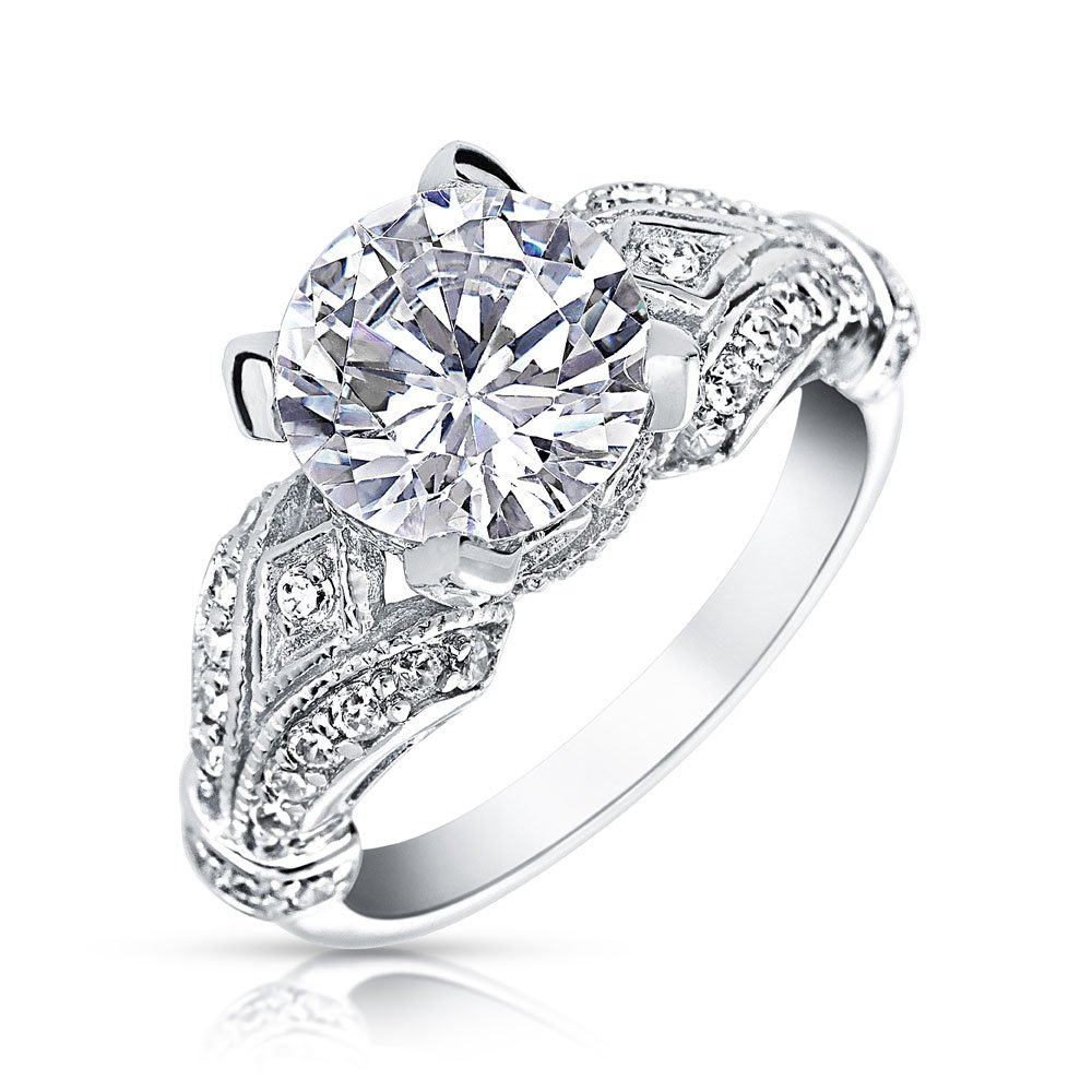 .925 Silver Victorian Style 3ct Solitaire CZ Engagement Ring