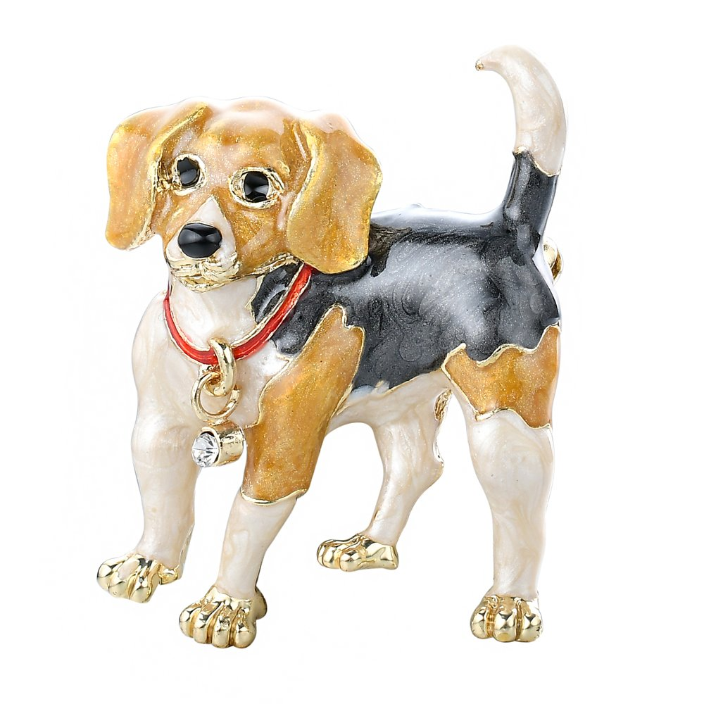 Adorable Gold Tone Hand Painted Puppy Dog | Beagle Themed Brooch Pin, by JADA Collections CMF-2114