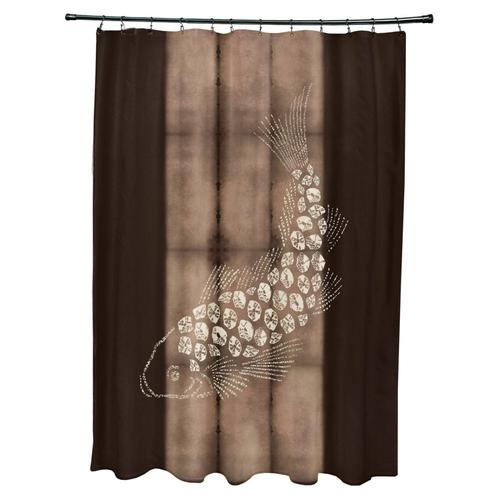 """E by design Fish Pool Animal Print Shower Curtain, 71"""" x 74"""", Brown"""