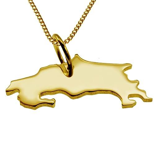 Partidario COSTA RICA en 333 oro amarillo con la cadena
