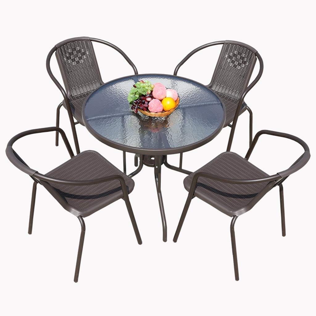 XLOO Outdoor 5-Piece Patio Dining Furniture Set, Stück Patio Garden Set, verdicktes Stahlrohr, Wasseroberfläche aus gehärtetem Glas, Terrasse, Hinterhof, Veranda, Garten, Poolside