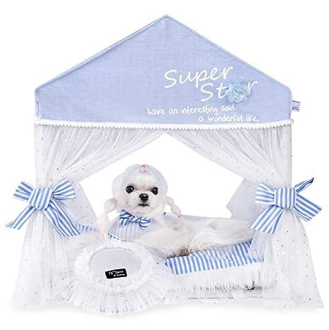 Febelle Caseta para Mascotas Perros Gatos pequeños casa Carpa Interior Perrera Higiénica Cama Protector de frío y luz de Sol con cojín Almohada (4#)
