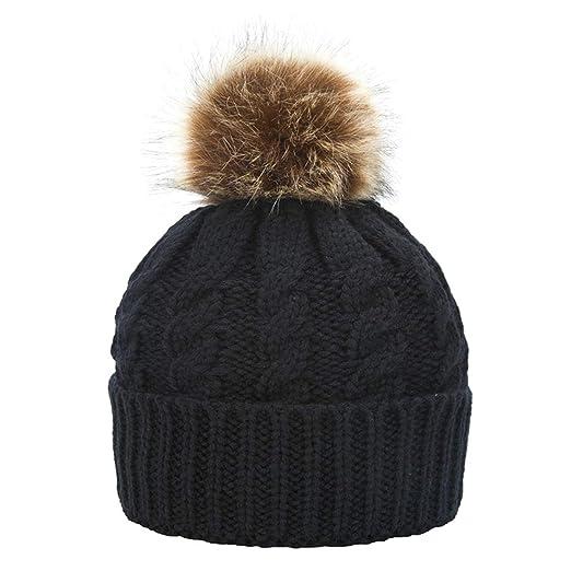 Janrely Womens Winter Hand Knit Faux Fur Pompoms Beanie Hat (Black ... b175a912769