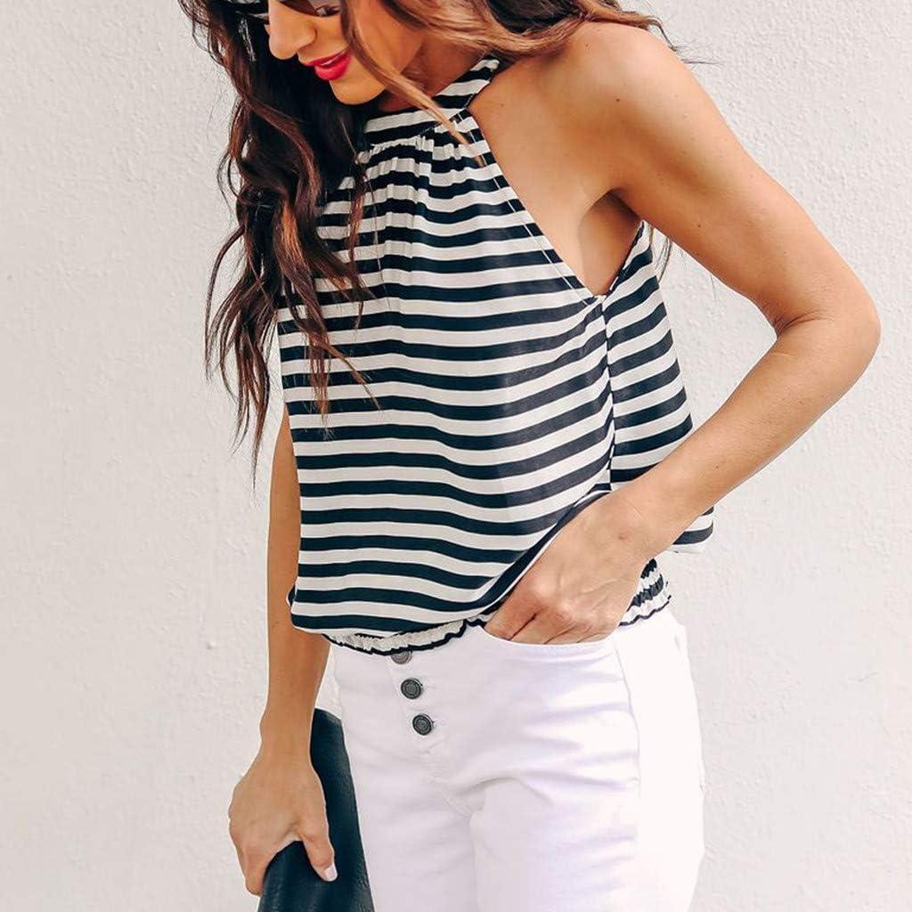 TWGONE Striped Shirt Women Sleeveless Vest Gallus Casual Tank Top Halter Blouse Vest