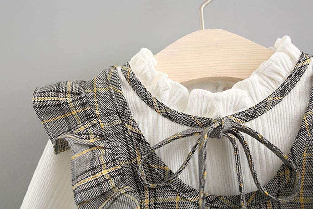 AIKSSOO Infant Baby Girls Outfit Vintage Pleated Collar Ruffle Long Sleeve Dress