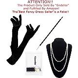 1920 Accessories Set - 1920s Flapper Costume Long Gloves,Pearl Necklace,Black Cigarette Holder Vintage Fancy Dress For Women