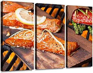 BELISIIS Three Grilled Salmon filets on Cedar Plank Cooking Seafood Wall Artwork Exclusive Photography Vintage Paintings Print on Canvas Home Decor Wall Art 3 Panels Framed Ready to Hang