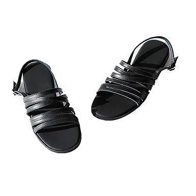 68d5ac9c56 Amazon.com: ugly Summer black flat sandals ladies shoes leather open toe  comfortable simple Rome shoes flat shoes: Clothing