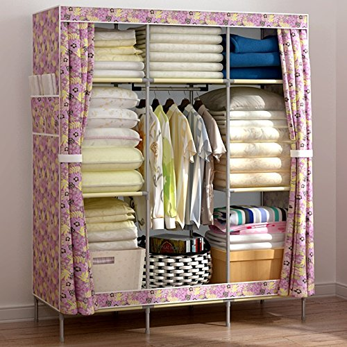 Generic New Reinforced Large Portable Closet Folding Clothes Wardrobe Bedroom Furniture by Generic