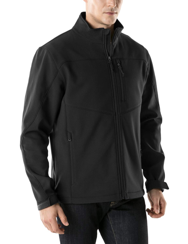 TSLA Men's Softshell Athletic Microfleece Active Wind-Repel Coat Full-Zip Outdoor Water-Proof Jacket, Active Softshell(ykj80) - Black, Large by TSLA