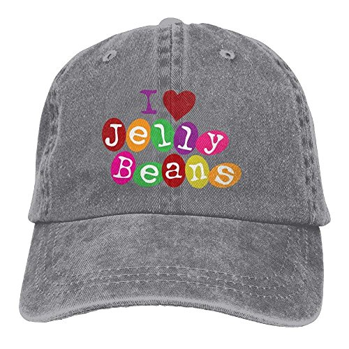 - GlyndaHoa Love Jellybeans Adjustable Mountain Climbing Cotton Washed Denim Hat Ash