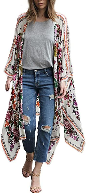 Women Beach Cardigan,AIMTOPPY Women Chiffon Blouse Floral Print Kimono Long Tops Shawl Loose T-Shirt Outwear