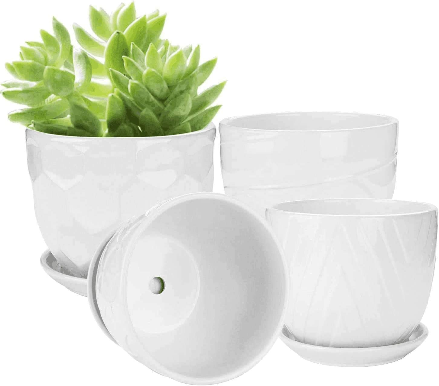 Ufrount White Ceramic Planter Pot with Drainage Holes, Succulent Planter Pots Planting Pot Flower Pots for Mini Plant Perfect for Garden, Kitchen, Windowsill - Set of 4 (4.7 Inches)