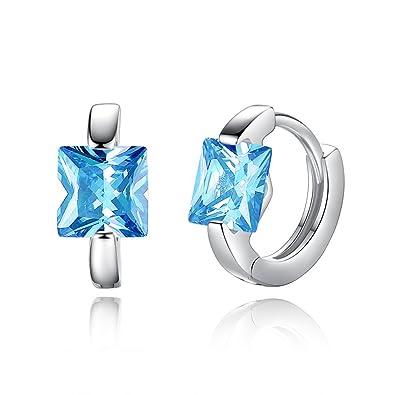 8a1eb9cb583d YAZILIND platino plateado forma cuadrada cubic zirconia aro aretes  cumpleaños fiesta joyas regalo (azul)
