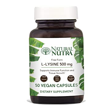Natural Nutra L Lysine HCl, Free Form Alpha Amino Acid Supplement, Non GMO,  Vegan, 500 mg, 50
