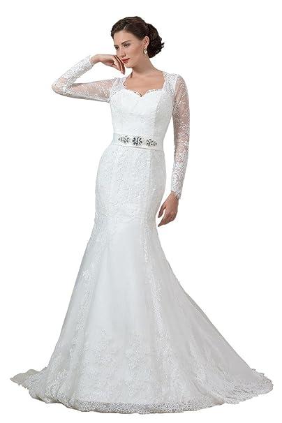 Clocolor mujeres de encaje sirena larga mangas boda vestidos 2016 novia fiesta blanco blanco 56