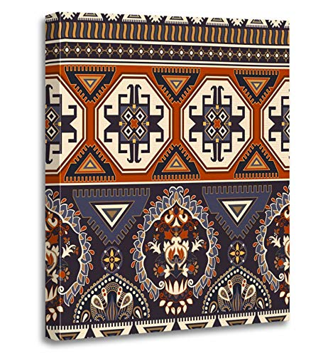 Emvency Painting Canvas Print Artwork Decorative Print Arabian Ornamental Pattern Style Design iPhone Beautiful East Eastern Elegant Wooden Frame 12x16 inches Wall Art for Home Decor