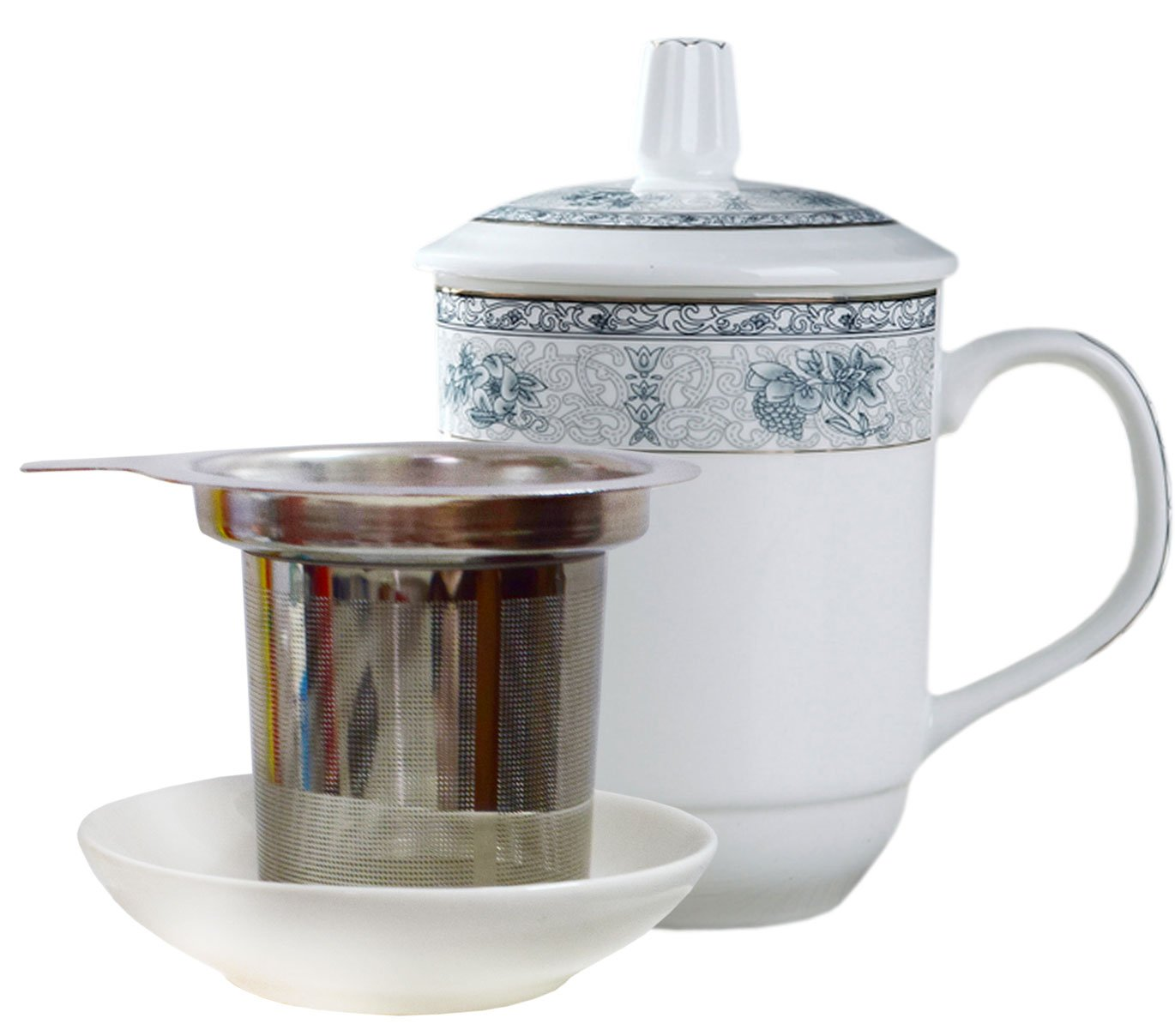 BandTie Convenient Travel Office Loose Leaf Tea Brewing System-Chinese Gongfu Tea Maker Ceramics Tea Cup Stainless Steel Infuser 4-Piece Set with Tea Cup Lid and Saucer,Flowers Pattern