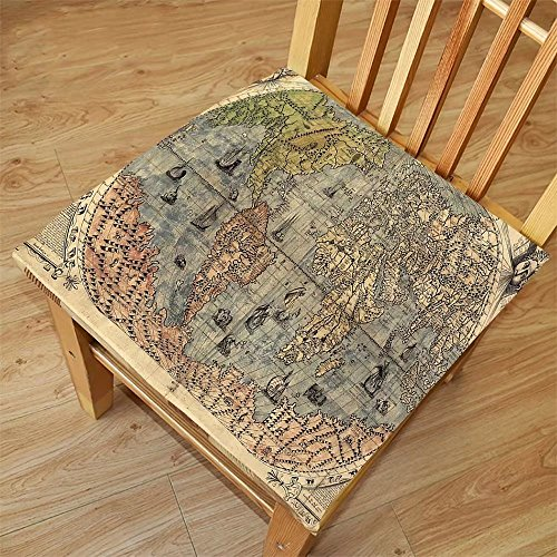Nalahome Set of 2 Waterproof Cozy Seat Protector Cushion Antique Decor Collection Ancient Map of World Global History Stained Paper Oceans Lands Atlas Educational Art Ivory Bl Printing Size - Ocean And Sunglasses Land