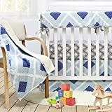 Brandream Boho Plaid Crib Bedding Set for Boys Blue Baby Bedding Crib Set, 100% Soft Cotton, Hypoallergenic & Breathable, 3 Pieces