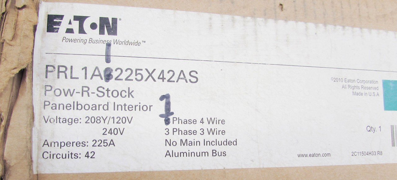 Eaton PRL1A3225X42AS 3-Phase 4 Wire Aluminum Bus Short Panelboard ...