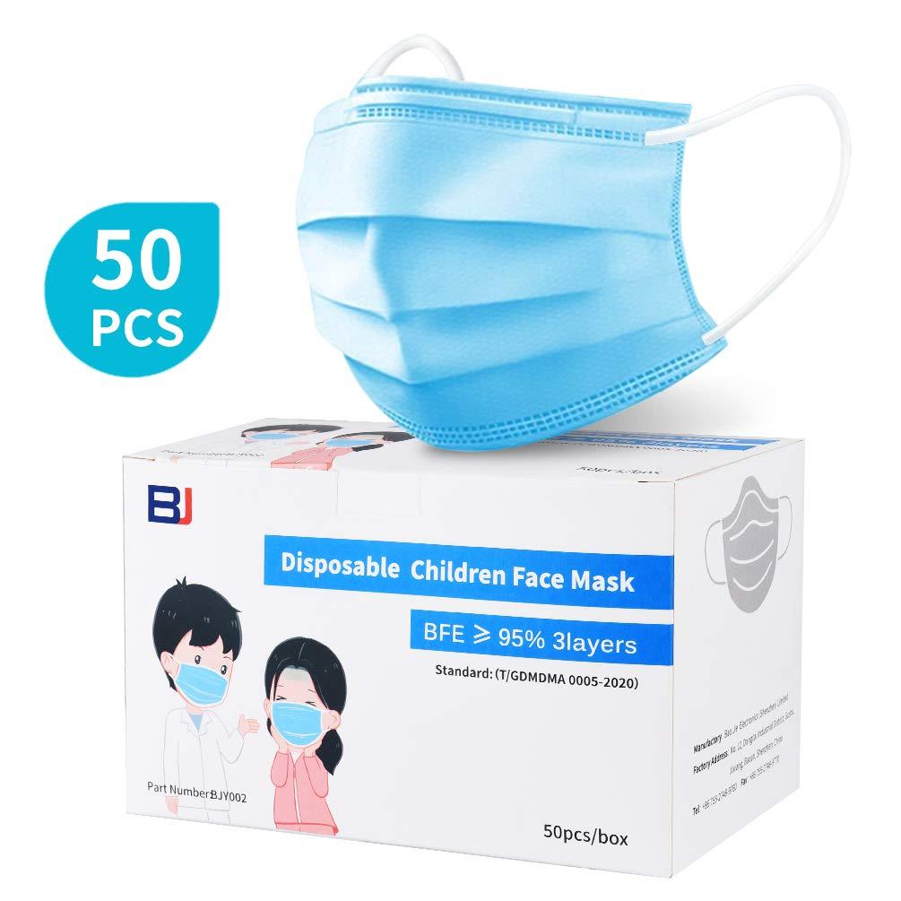50 Pcs de Estilo Para Niños Azul Desechable de 3 Capas (adecuado para niños de 6 a 14 años.)