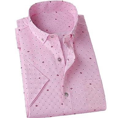 130355e2 SportsX Men Button Down Business Polka Dots Short Sleeve Fit T-Shirt Pink S