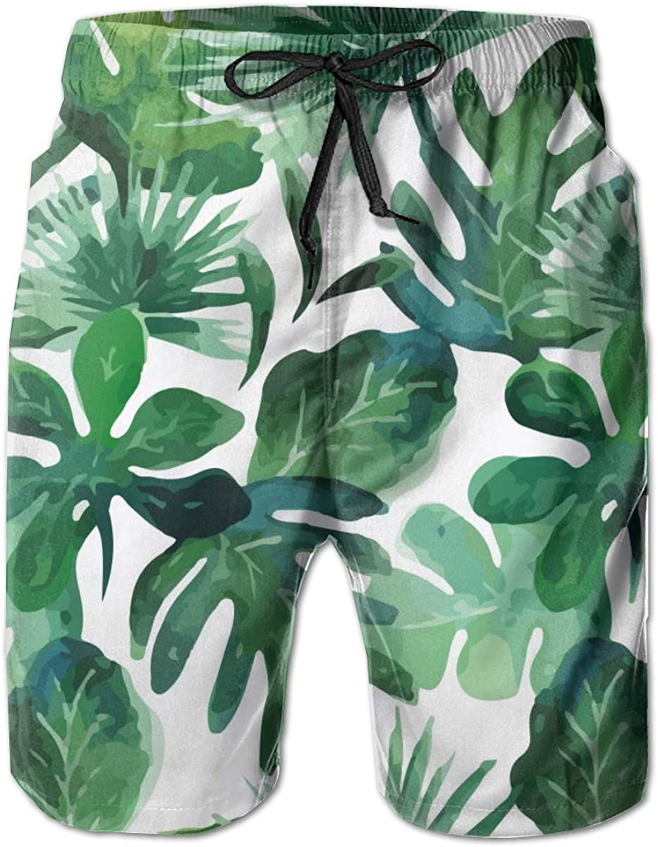 Tropical Leaves Palm Summer Mens Swim Trunks Beach Shorts with Mesh Lining Boardshort