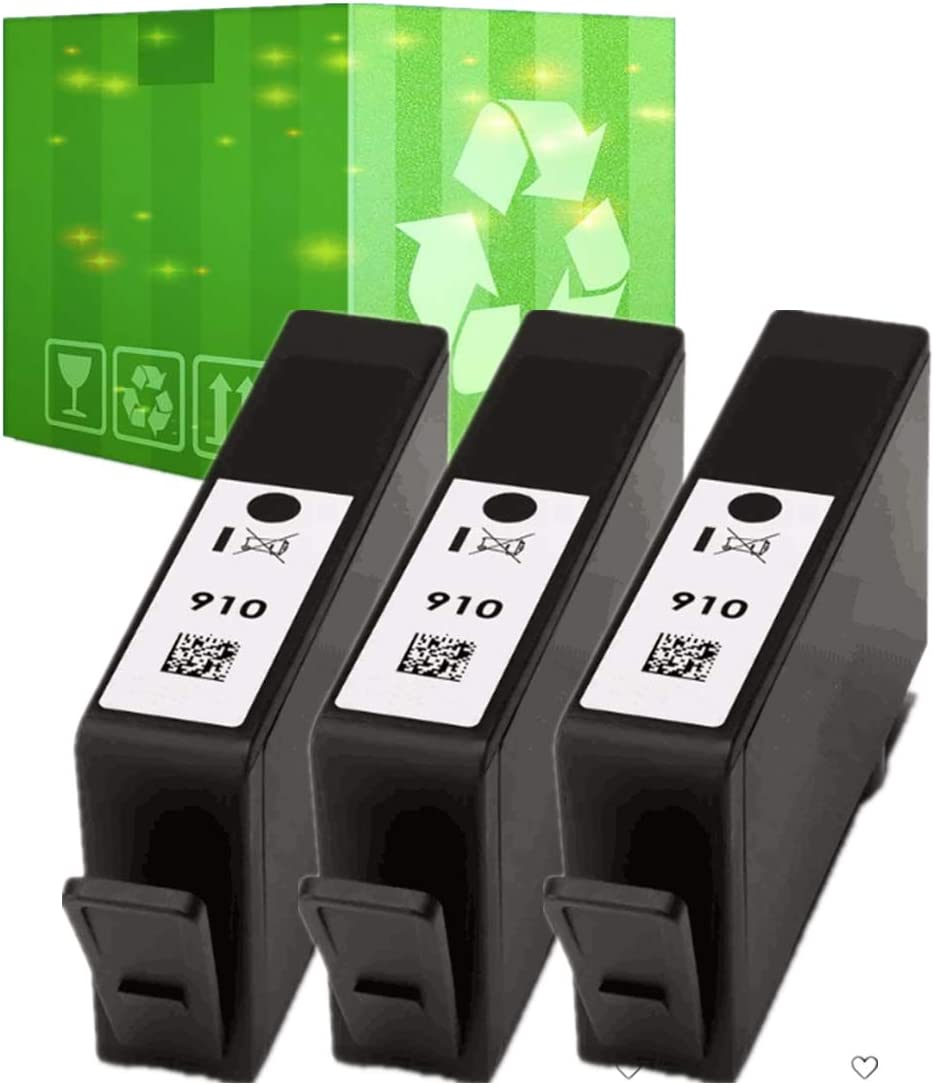 J2INK Remanufactured Ink Cartridges Replacement for HP 910 3 Black OfficeJet 8022 8010 8025 8030 3YL61AN (Only Black)