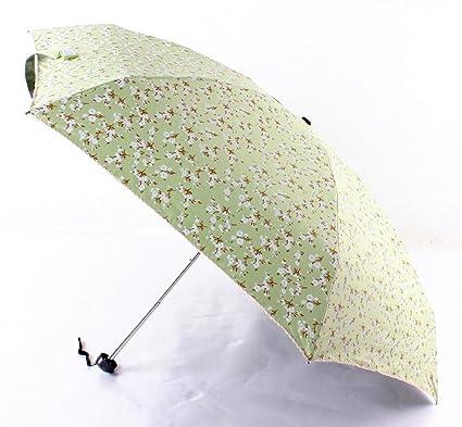 BiuTeFang Paraguas Pequeño floral Vinilo Paraguas protección UV mini pequeño paraguas plegable paraguas plegable 50x88cm