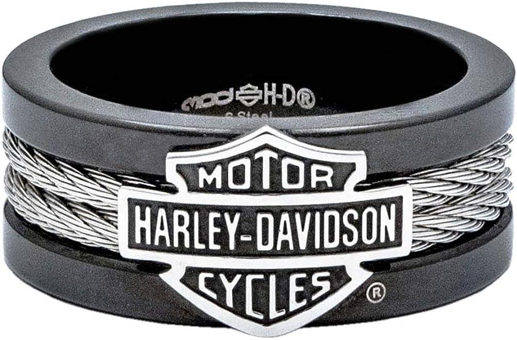 Harley-Davidson Men's Ring, Bar & Shield Steel Cable Band, Black HSR0021