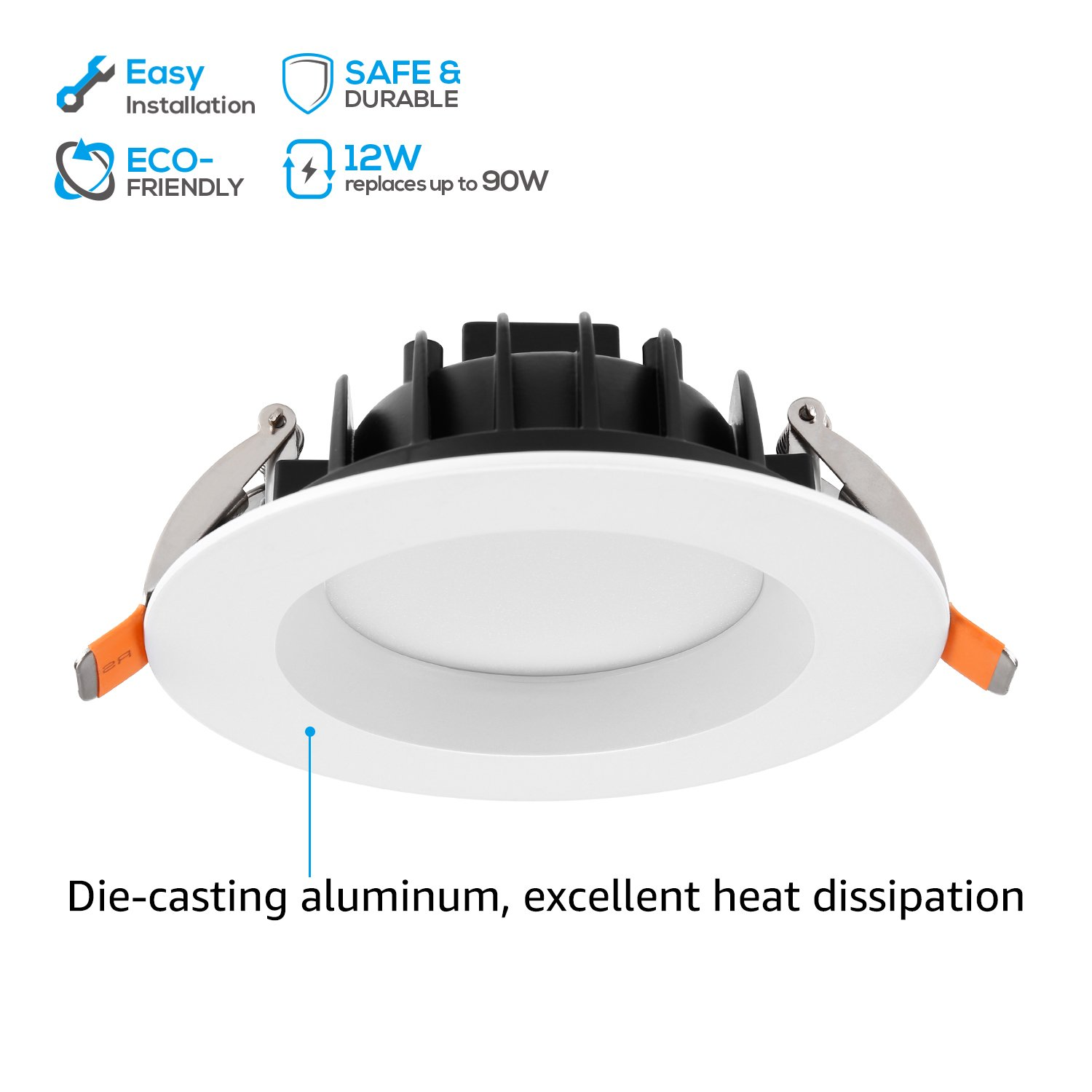 "Amazon.com: TORCHSTAR 12W 4"" Slim Recessed Ceiling Light with Junction Box, Dimmable Can Killer, IC Rated Airtight Downlight, 90W Equiv, ETL & Energy Star ..."
