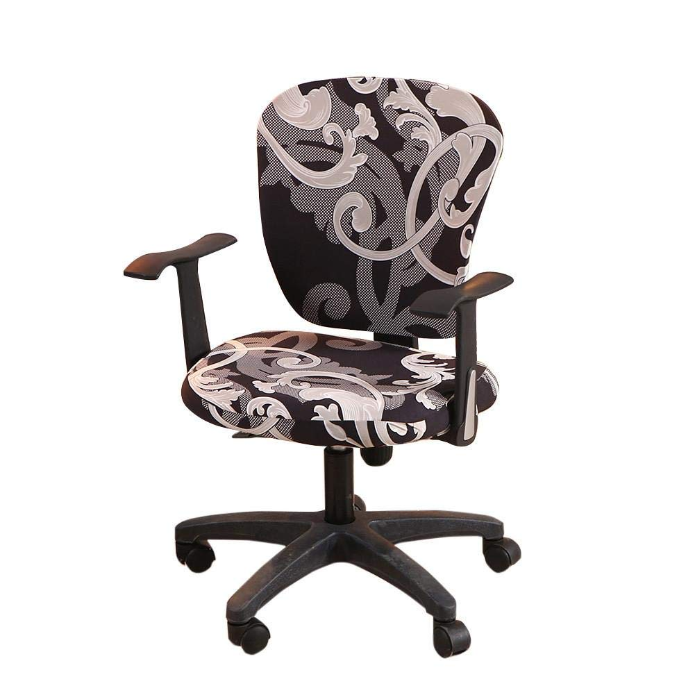 Computer Office Chair Cover - Split Protective & Stretchable Cloth Polyester Universal Desk Task Chair Chair Covers Stretch Rotating Chair Slipcover