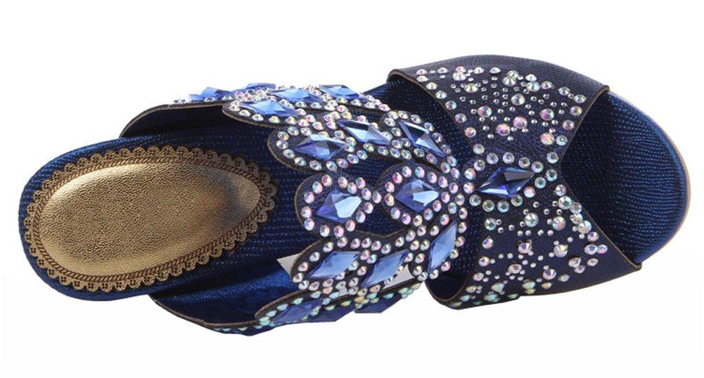 ff44a136e016d ... Honeystore Women s Rhombus Rhinestones B00LC23QGK Handmade Party Wedge  Sandals B00LC23QGK Rhinestones 8 B(M) ...