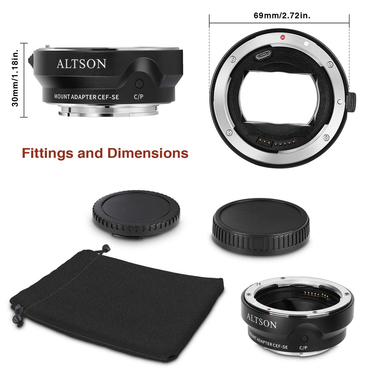 Altson EF/EF-S Lens to Sony E Mount T Smart Adapter (CEF-SE) by ALTSON