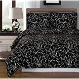 Black and White Ema 8-piece California-King Bed-in-a-Bag 100 % Egyptian Cotton 300 Thread Count by Royal Hotel