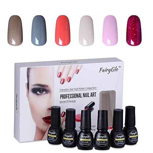 2 opinioni per FairyGlo Gift Set Smalto Semipermanente 6Pz Colori Nail Art Set Soak off Gel UV