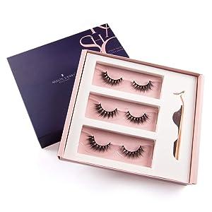 Arison 3D Eyelashes Kit False Fake Lashes 3 Pair Package with Tweezer Set Wispy Strips Silk Reusable Handmade Long Fur Soft Dramatic Natural Look for Women Makeup(LH-24)