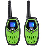 Walkie Talkie for Kids YZGE 22-Channel Two-Way Radio MAX to 3 Miles Handheld Walkie Talky ,Outdoor Toys for Boys Gifts for Kids 2 Pack, (Green)