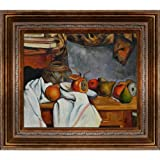 overstockArt Cezanne Ginger Pot with Pomegranate and Pears with Mediterranean Bronze Frame, Bronze Finish