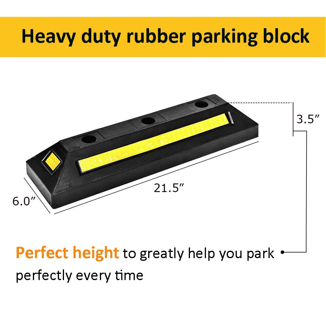 Cozylifeunion 2 Pack Heavy Duty Rubber Parking Blocks Curb Guide Car Garage Wheel Stop Stoppers for Car, Truck, RV, Trailer, and Garage by Cozylifeunion (Image #2)
