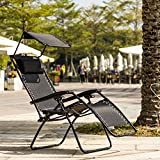 Ollieroo Black Zero Gravity Canopy Sunshade Lounge Chair with Pillow and Utility Tray Adjustable Folding Recliner Outdoor Patio Chair