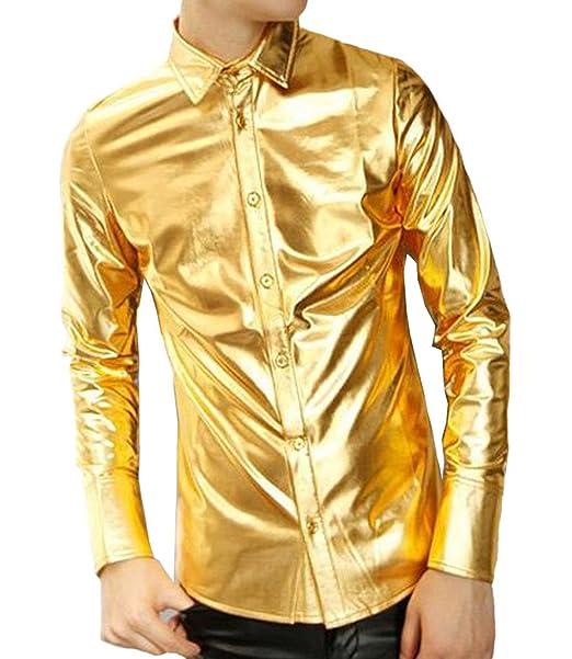 Ouye Mens Gold Coating Long Sleeve Casual Shirt at Amazon Mens Clothing store: