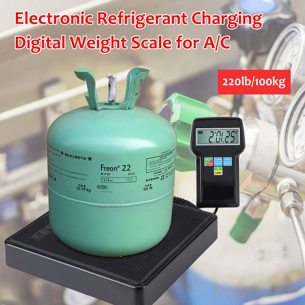 220lb//100kg Electronic Digital Weight Scale with Case for Refrigerant Charging Nannday Refrigerant Charging Weight Scale Recovery /& Weighing of Commercial A//C