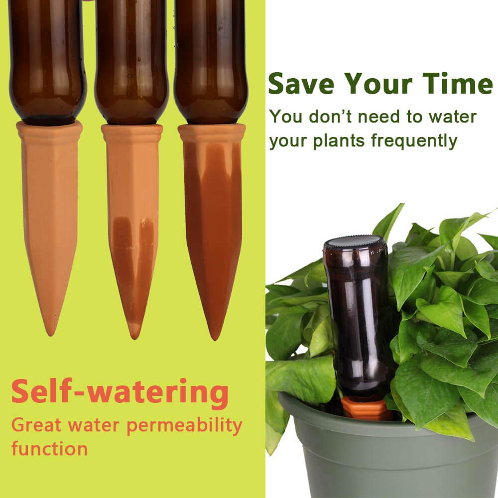 vensovo 9 Pack Terracotta Watering Spikes - Automatic Self Watering Stakes, Plant Watering Devices for Wine Bottles Recycled Bottles, Clay Plant Garden Waterers for Vacations