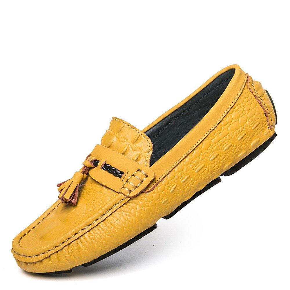 Mocasines para Caminar Los Zapatos Ocasionales Respirables de los Hombres conducen los Holgazanes Planos Zapatos de Barco 42 EU|Amarillo