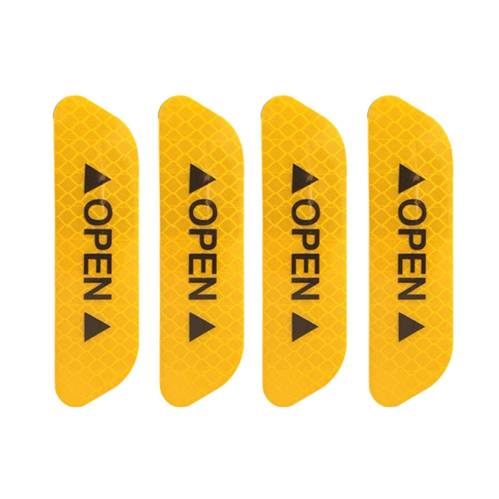 Trader-V 4Pcs Universal Open Auto Decals Reflective Warning Strip Tape Sign Stickers Safety Car Door Sticker Anti-Collision Warning Mark Red