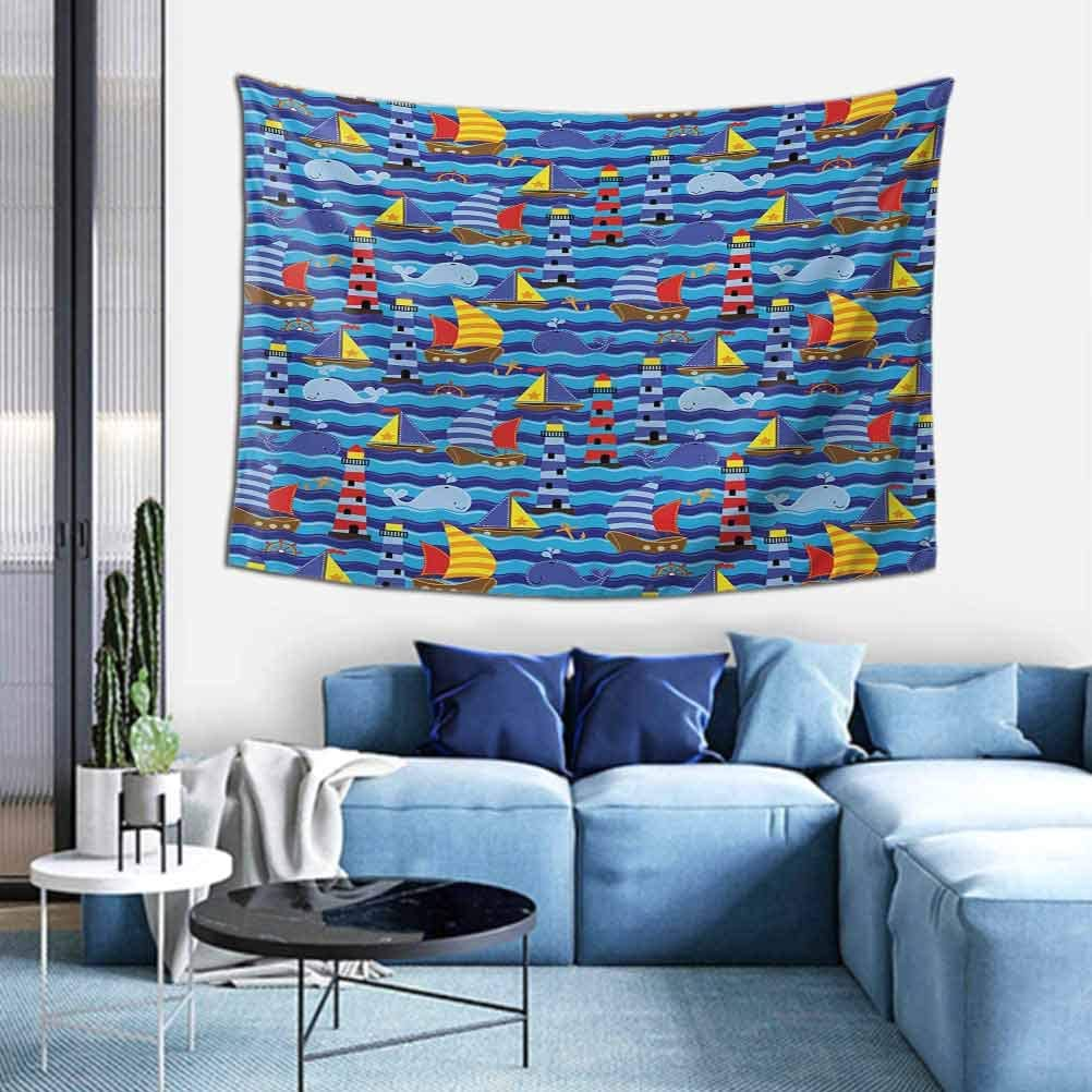 Nautical Large wall tapestry Nautical Themed Wavy Ocean Boating Yacht Dolphin Compass Lighthouse Fish Room Decor Tapestry W51 x L60 inch Blue Red Yellow
